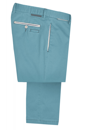 A pair of custom tailored pair of slim-cut men's casual slacks with on-seam pockets in the front, double piped back pockets, and excellent detailing.
