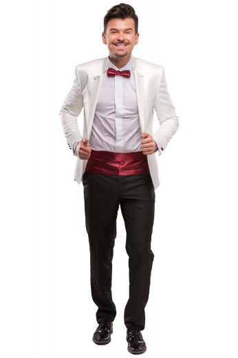 A pair of men's tailor made slim fit flat front suit pants with on-seam pockets, elegantly paired with a single breasted one button suit jacket with notch lapels and a low gorge.
