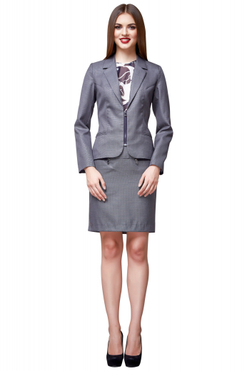 Bespoke dark gray skirt suits with super stylish jackets displaying zipper front closure, neatly double piped lower pockets and notch lapels, and knee length skirts with wide waistband and concealed back zipper aligned with center back vent.