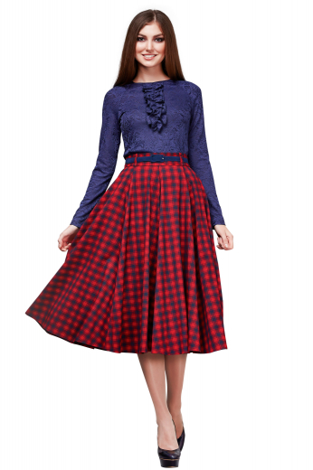 With super impressive flares and three inches wide waistband, these gorgeous tailor made plaid skirts are attractive calf length office wears. They close with a concealed back zipper and can be custom made with wrinkle proof fabrics.