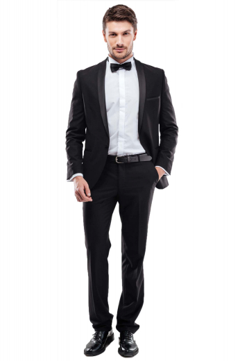 A tailor-made classic tuxedo skillfully tailored for dinner parties and special functions. This men's tux is made up of a pair of slim fit flat front pants, completed by a single breasted one button suit jacket.