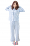 This super comfortable womens custom made striped cotton night suit comes from the premium range of affordable handmade garments at My Custom Tailor. This womens tailor made white night suit with blue stripes features a bespoke loose fit night shirt and handmade striped pyjamas. The womens custom made full length pyjamas with blue stripes have an elastic waistband. The womens bespoke night shirt has a rounded point collar, a flat front, a squared bottom, and 1 standard pocket on the left.