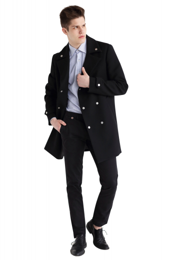 This elegantly handmade mens bespoke black overcoat in merino wool is a stunner that'll keep you warm in winters. This mens custom made double breasted black overcoat has 6 contrast front buttons with 3 to close and 4 3/4 inch wide peak lapels. This mens custom made black topcoat also has elegantly hand moulded shoulders, 2 slanted lower welt pockets, a center vent, and buttoned epaulettes on the cuffs. You can buy this trendy mens handmade merino wool black topcoat at My Custom Tailor at affordable rates.