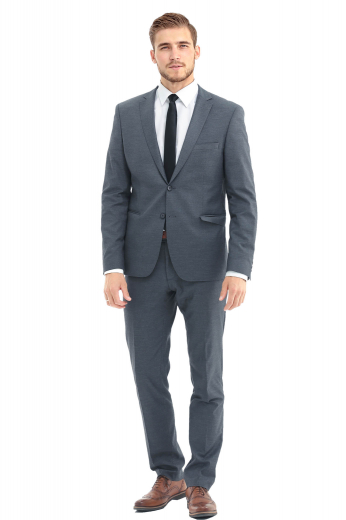 A tailor-made men's slim cut pair of suit pants elegantly paired with a sophisticated single breasted two button suit jacket with an upper welt pocket skillfully tailored by our skilled tailors.