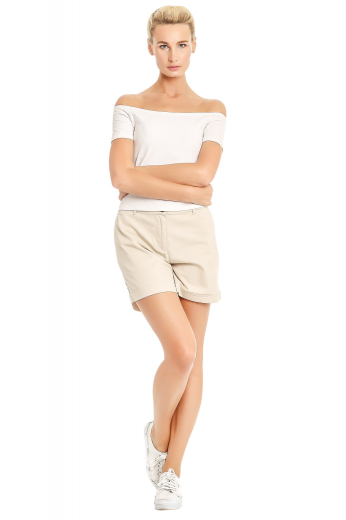 You can wear these stylish womens bespoke cream shorts in cotton to beach parties and a casual day out with your girl gang. These womens handmade flat front summer shorts have a zipper fly and a 2 point button and hook closure. These womens custom made cream shorts also feature beautifully stitched 2 inch wide turned up cuffs. You can buy these utterly delightful womens handmade cotton casual shirts at My Custom Tailor to get a hang of luxury at affordable rates.