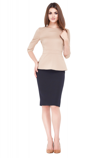 This womens custom made navy blue suit skirt in cashmere wool is a trendy work wear available at My Custom Tailor at affordable rates. This womens handmade slim fit pencil skirt features an elegant flat front, a back zipper, and a center back vent. This womens tailor made knee length navy blue suit skirt is a wrinkle resistant formal that you can wear to interviews and board meetings.