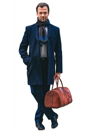 This super stunning mens tailor made midnight blue overcoat in cashmere wool ends just above the knees. With 3 inch wide high notch lapels and 3 covered front close buttons, this mens handmade midnight blue overcoat also features a classy center vent and 2 slanted lower pockets with flaps. You can buy this trendy mens custom made cashmere wool overcoat at My Custom Tailor where the weavers take extra efforts to hand stitch the edges of the lapels and pockets.