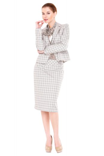 This gorgeous womens custom made plaid wool skirt suit features a handmade plaid jacket and a custom made knee length pencil skirt. The womens handmade slim fit plaid jacket features 1 front close button, 2 notch lapels with hand stitched edges, and 1 upper welt pocket with hand sewn edges. The womens tailor made plaid pencil skirt has a 3 inch wide waistband, a back center vent, and a back zipper fly. You can buy this womens bespoke slim fit skirt suit at My Custom Tailor to flaunt an updated work look at affordable rates.