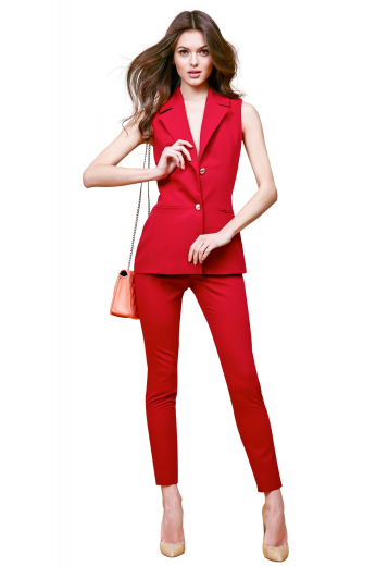 This attractive womens handmade scarlet pant suit in wool features handmade full length pants and a custom made short sleeves jacket. The womens made to order slim fit jacket has 2 front close buttons in contrast color, 2 3 inch wide notch lapels, a princess dart front and back, hand moulded shoulders, and 2 double piped lower pockets. The womens bespoke slim fit suit pants have a flat front and a zipper fly to close. You can buy this womens tailor made slim fit pant suit at My Custom Tailor at affordable rates.