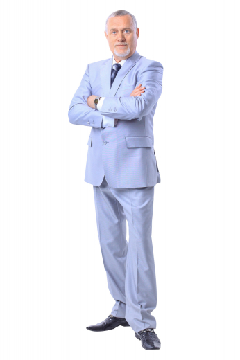 A single breasted two button suit jacket with elegant notch lapels and an upper welt pocket, matched perfectly with a pair of flat front pants.