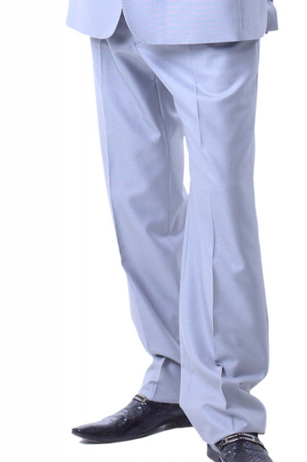 These classic mens tailor made pale blue wool dress pants are a perfect regular wear that can also be worn to interviews and meetings. These mens bespoke pale blue dress pants from the premium range of high-quality custom made formals at My Custom Tailor are hand stitched to flaunt 2 front slash pockets, a 2 point button and hook closure, a zipper fly, and exquisitely hand sewn cuffs hems. You can wear these affordable mens handmade pale blue dress slacks with mens custom made dress shirts for a gentleman look.