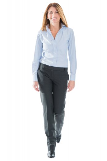 These womens bespoke charcoal grey dress pants in cashmere wool are perfect daily wear office garments that can also be worn to interviews and board meetings. These womens handmade slim fit dress pants have extended belt loops and an extended waistband with a hook. With a comfortable zipper fly and a flat front, these womens tailor made dress slacks also feature 2 on-seam front pockets. You can buy these womens handmade slim fit dress slacks at My Custom Tailor at super affordable rates.