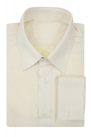This mens handmade pale salmon check business shirt in poplin cotton is an ideal formal that can be worn to work daily. With stunning squared edge french cuffs and standard tails, this mens custom made slim fit salmon formal shirt also features an elegant Ainsley collar with 3 inch wide collar points and 1 1/2 inch collar height. You can buy this stellar mens made to order check business dress shirt at My Custom Tailor for a dapper corporate look.