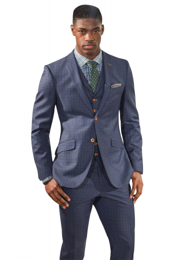 Mens tailor made dark blue English wool 3pc suit with Scottish checks. Features a handmade slim fit jacket with 2 notch lapels, a bespoke vest with 6 front buttons, and custom made dress pants with reverse double pleats. The mens made to order striped jacket has 1 upper welt pocket, 2 slanted lower flapped pockets, 2 orange front buttons, and 1 boutonniere on the left lapel with contrast color. The mens handmade slim fit vest has an adjustable buckled cloth back. The mens bespoke striped dress pants have 2 front slash pockets.