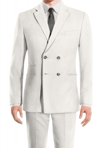 This mens handmade double breasted ivory suit in wool features a bespoke slim fit jacket and handmade flat front pants. The mens tailor made double breasted jacket has 4 front buttons, 2 to close, 2 double piped lower pockets, 1 double piped ticket pocket on the left, 1 upper welt pocket, and 2 notch lapels. The mens custom made slim fit dress pants have 2 front slash pockets, 2 back pockets, and a 2 point button and hook for closure. Buy this mens bespoke wool suit at My Custom tailor for a luxurious feel.