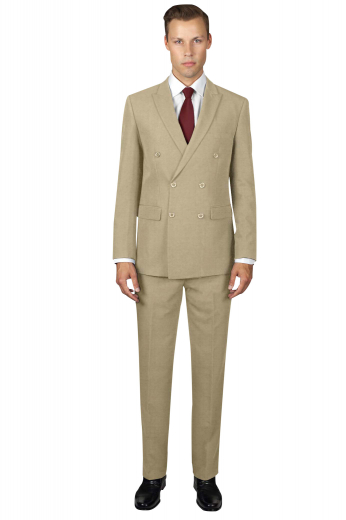 Mens handmade cashmere wool double breasted suit in camel. Perfect for board meetings and corporate events. Features a mens custom made slim fit jacket and mens bespoke flat front dress pants. The mens tailor made double breasted jacket has slim ruled peak lapels, 1 upper welt pocket, 2 lower flapped pockets, and 6 front buttons, 2 to close. The mens tailor made slim fit dress pants have 2 front slash pockets, 2 back pockets, a 2 point button and hook closure, and a zipper fly.