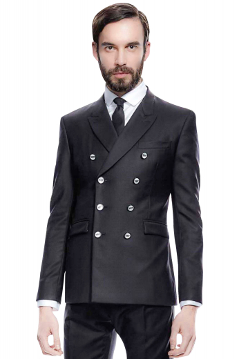 Turn heads in this stunning mens handmade double breasted black suit in 120s wool from the range of premium handmade suits by My Custom Tailor. This mens custom made slim fit suit features a bespoke double breasted jacket and handmade dress pants. The mens made to order slim fit jacket has 8 silver buttons, 3 to close, 2 peak lapels with 1 boutonniere on each lapel, 1 upper welt pocket, and 2 lower flapped pockets. The mens handmade slim fit dress pants have a zip fly to close, 2 back pockets, and 2 front slash pockets.