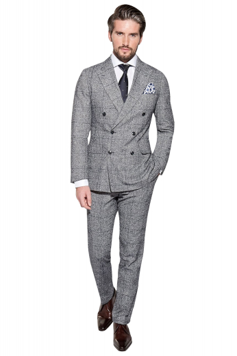 This stunning mens handmade dark grey plaid suit in cashmere wool by My Custom Tailor is an absolute win for formal events and board meetings. This mens made to order two piece suit features a bespoke slim fit double breasted jacket with 6 front buttons, 2 to close and custom made dress pants with 2 front slash pockets. The mens tailor made suit jacket features 2 stunning peak lapels, 2 lower flapped pockets, and 1 upper welt pocket. The mens bespoke slim fit plaid pants feature a 2 point button and hook closure and a zip fly.