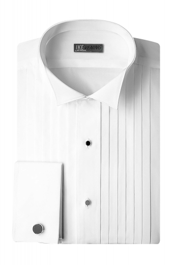 This stellar mens tailor made white tuxedo shirt in Long staple Supima cotton has a stylish front - half pleated and half plain. Further adorned with a wing tip collar, a classic plain back, and 2 squared edge french cuffs, this mens handmade slim fit tuxedo shirt features a display of black front close buttons added for extra oomph. You can buy this extra stylish mens custom made cotton tuxedo shirt to get a hang of luxury, that too, at unbelievably low rates.