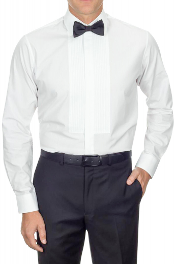 An elegantly made to measure men's slim cut tuxedo dress shirt that will turn heads everywhere you go. This shirt features dapper detailing such as it's French fly front and squared edge French cuffs.