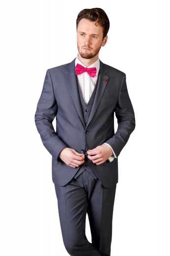 This must buy mens handmade dark grey 3 piece suit in 120s wool features a stellar tailor made jacket with rolled notch lapels, a stylish bespoke single breasted vest with an adjustable cloth back, and iconic custom made flat front dress pants with extended belt loops. The mens bespoke vest has 5 front close buttons. The mens handmade slim fit jacket features 1 upper welt pocket, 2 lower flapped pockets, and a stunning boutonniere on the left lapel. The mens handmade dress pants have a 2 point button and hook closure for comfort.