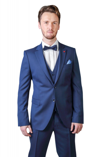 This stunning mens handmade midnight blue 3pc suit in cashmere wool features a bespoke single breasted vest, a tailor made slim fit jacket, and handmade suit pants with a reverse double pleat pattern. The mens custom made vest has 5 front close buttons. The mens tailor made dinner jacket has 2 notch lapels, 2 front close buttons, and 1 boutonniere on the left lapel. The mens tailor made slim fit dress pants have a 2 point button and hook closure. Buy this mens handmade 3 piece wool suit at My Custom Tailor for a luxurious feel.