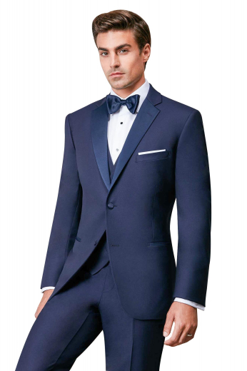 Mens handmade navy blue tuxedo suit in superwool. Features a mens bespoke slim fit tux jacket and mens custom made suit pants with a zipper fly for front closure. The mens tailor made dinner jacket has a single breasted pattern with 1 fabric covered front close button, 2 satin-facing notch lapels, 1 upper welt pocket, and 2 double piped lower pockets. The mens handmade dress pants have 2 front slash pockets and 2 back pockets. Buy this mens bespoke two piece dinner suit at My Custom Tailor to stay stylish.