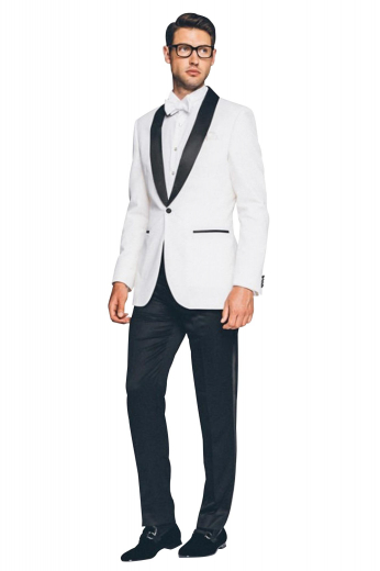 Mens handmade white tuxedo in alpaca wool. Features a mens tailor made tuxedo jacket and mens bespoke slim fit suit pants. The mens tailor made slim fit dinner jacket features a shawl collar with 2 satin-facing rolled lapels, 1 fabric-covered front close button, 2 double piped lower pockets, and 1 upper welt pocket. The mens handmade dress pants feature a zipper fly, a 2 point button and hook closure, 2 front slash pockets, and 2 back pockets. Buy this mens tailor made tux at My Custom Tailor at affordable rates.