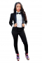 Get party-ready with this stunning womens tailor made slim fit wool black tuxedo, featuring a womens handmade short length tuxedo jacket and womens tailor made slim fit suit pants. The womens handmade black tux jacket has a single breasted style, a shawl collar with satin-facings lapels, and a classic medium gorge. The womens handmade dress pants have flat fronts with a zipper fly for front closure. Buy this trendy womens tailor made wool tuxedo at My Custom Tailor and get ready for weddings and corporate events in no time.