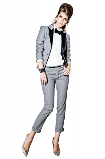 Womens tailor made silver tuxedo suit in superwool. Perfect for meetings and interviews. Features a womens handmade single breasted tuxedo jacket and womens bespoke slim fit suit pants. The womens custom made tux jacket has satin-facing peak lapels, 2 slanted double piped lower pockets, and 1 front closure button. The womens handmade boot cut pants with calf length have iconic flat fronts with 1.5 inch turned-up bottom cuffs and gorgeously designed extended belt loops with a 2 point button and hook and a zipper fly for closure.