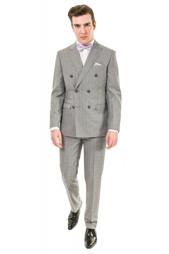 Mens must buy custom made light grey plaid suit in wool. Features a mens handmade double breasted jacket and mens tailor made suit pants. The mens bespoke jacket has 6 front buttons with 2 to close, stylish peak lapels with 2 stunning boutonnieres on the left lapel, 1 upper welt pocket, 2 lower flapped pockets, and 1 exquisite double piped ticket pocket on the left. The mens bespoke slim fit dress pants have a classic flat front with 2 front slash pockets, 2 back pockets, a zipper fly, and a 2 point button and hook closure.