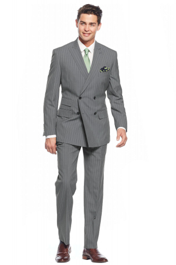 Mens handmade light grey suit in 150s wool. Features a mens tailor made slim fit jacket and mens custom made suit pants. The mens handmade double breasted jacket with stripes is fabricated to flaunt 4 front buttons with 2 to close, 2 slim ruled peak lapels with a dashing boutonniere on the left lapel, 2 lower flapped pockets, 1 upper welt pocket, and a special double piped ticket pocket on the left. The mens handmade slim fit pants feature a crisp flat front augmented with a zipper fly and a 2 point button and hook closure.