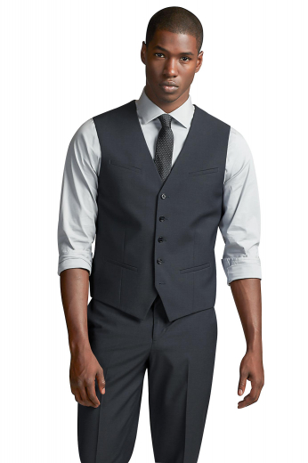 Dark grey cashmere wool bespoke vest for men. Perfect for board meetings and interviews. This iconic mens tailor made slim fit vest features a comfortable V-neck and 5 front closure buttons. With a classic representation of 2 lower piped pockets and a single hand sewn slanted upper welt pocket, this mens bespoke wool vest is ideal for men who like simplicity and comfort. Buy this mens tailor made waistcoat at My Custom Tailor at affordable rates never seen before.