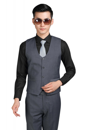 Deftly hand stitched mens bespoke grey vest in twill cotton. Can be worn to board meetings and corporate events. This single breasted mens handmade vest is adorned with a curved U-neck and a 4 button front closure. With a slim cut fitting and an adjustable buckle at the back, this iconic mens tailor made waistcoat with a cloth back also features 2 welted lower pockets and a high gorge. Buy it at My custom Tailor and be the trendsetter you always wanted to be.