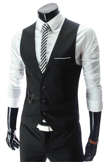 Stellar mens tailor made black vest in cashmere wool. A perfect mens handmade wool vest for corporate meetings, interviews, and formal events. This Uber trendy mens bespoke black vest has a stunning slim cut fitting that's festooned with 3 front close buttons, an upper welt pocket on the left, 2 hand stitched lower piped pockets, and 1 deftly piped ticket pocket. With a single breasted pattern and a V-neck style, this mens custom made waistcoat can be purchased at My Custom Tailor at unbelievable low prices.