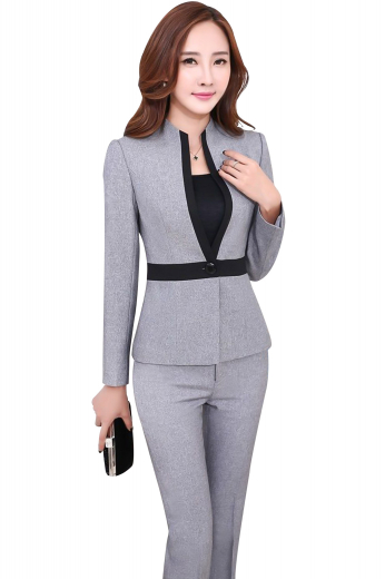 This womens custom made light grey pant suit in Sea Island Cotton is an ideal choice for classy women who like to keep things stylish at work. It has a beautiful full-length bespoke suit pants and a single breasted suit jacket. The womens tailor made suit pants have standard belt loops with a comfortable two point button and hook closure. The elegant womens bespoke slim fit jacket features an iconic standup collar with black satin-lined edges and a black front closure button for grace and comfort like never before.