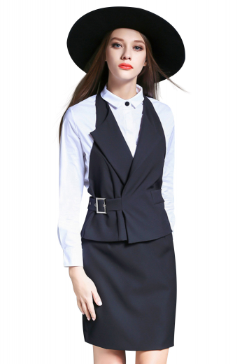 Made from a refined blend of the softest mink and cashmere, this made measure women's formal work vest features a single-breasted slim cut design with a hand-sewn side belt for a touch of chic practicality. This vest is paired with a flattering knee length skirt.