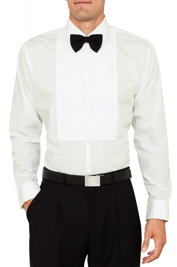 This stylish mens tailor made ivory tuxedo shirt in Sea Island Cotton is a perfect mens tailor made dinner shirt for weddings and parties. This mens bespoke slim fit evening shirt flaunts an iconic Ainsley collar with neatly hand sewn squared edge french cuffs and a smooth placket front. Buy this mens tailor made tuxedo shirt to flaunt a dapper look at weddings.