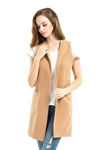 Wear this beautiful womens handmade wool vest in beige to corporate parties and formal events and look every bit classy. This womens bespoke slim fit vest with an open front has a stunning slim cut fitting with a sleeveless pattern, 2 welted lower pockets, and an attractive high gorge. You can buy this beautifully hand stitched womens bespoke beige vest at My Custom Tailor at affordable rates.