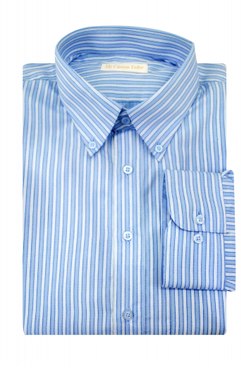 This stunning mens handmade white and blue cotton shirt with beautiful stripes is perfect for meetings and interviews. It is a super luxurious mens tailor made dress shirt with a European Narrow Forward Point Collar adorned with 2 1/2 inch collar points. This mens bespoke dress shirt with a plain back and placket front is a must buy iconic garment with hand sewn rounded barrel cuffs for class and sophistication.