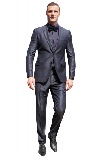 This super classy must buy mens handmade midnight blue suit is perfect for corporate parties and board meetings. This mens tailor made cashmere wool suit has 1 bespoke slim fit jacket and handmade flat front custom suit pants. The mens tailor made single breasted jacket has 2 peak lapels with 1 boutonniere on the left lapel and a comfortable 2 button front closure. The mens tailor made pants have 2 slash pockets in the front and 2 standard back pockets. Buy it to look every bit handsome at work.