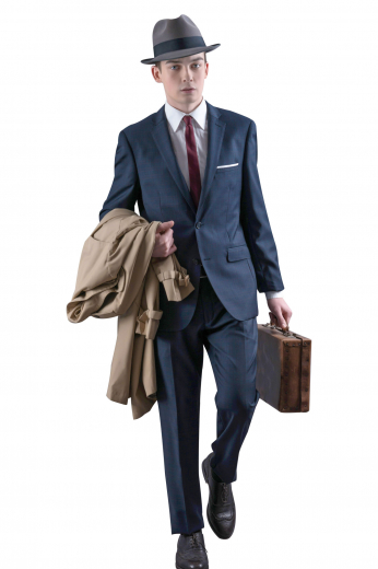 Coming from the premium range of garments at My Custom Tailor, this iconic mens handmade Navy blue wool suit features a custom made single breasted blazer and trendy bespoke suit pants. The mens bespoke slim fit blazer puts on show classic notch lapels with 1 stunning boutonniere on the left lapel and 2 front close buttons. The mens tailor made pants have a classic slim cut fitting with a flat front, extended belt loops, and a zipper fly with two point button and hook closure at the front.