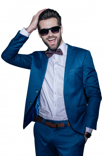 This stunning handmade cadet blue wool suit for men is a perfect corporate wear that features a slim fit single breasted blazer and bespoke slim fit pants. The iconic mens bespoke sports blazer has neatly rolled notch lapels with 1 boutonniere on the left lapel, 1 upper welt pocket, and 2 lower pockets with flaps. The classy mens handmade pants has paralleled belt loops with a two point button and hook closure and a zipper fly for comfort. Wear this trendsetting mens handmade suit to work and corporate parties for a stylish look.