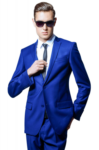 This must buy iconic mens french blue slim fit suit in wool is a single-breasted marvel for men who like to keep things stylish at work. It has a stylish bespoke sports jacket and custom made slim fit pants. The mens bespoke slim fit sports blazer is handmade to flaunt 2 front close buttons, 2 notch lapels, 2 lower flapped pockets, and 1 upper pocket with welt. The mens bespoke suit pant with reverse pleats have extended belt loops with a two point button and hook closure, a zipper fly, and slash pockets at the front.