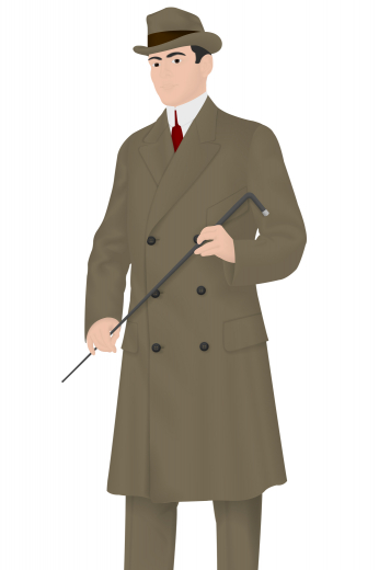 A made to measure men's vintage coat with flattering slim cut design with an above knee length, a double breasted design that looks absolutely dashing, and six buttons.