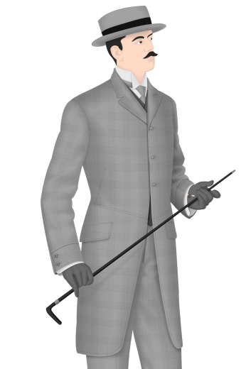 Check out this hand tailored men's vintage long jacket with a three button design and peak lapels that are simply timeless. This bespoke jacket is completed by a vintage pair of men's vintage flat fronts pants. This made to order men's vintage suit is made by expert tailors and would easily fit in to any formal event.