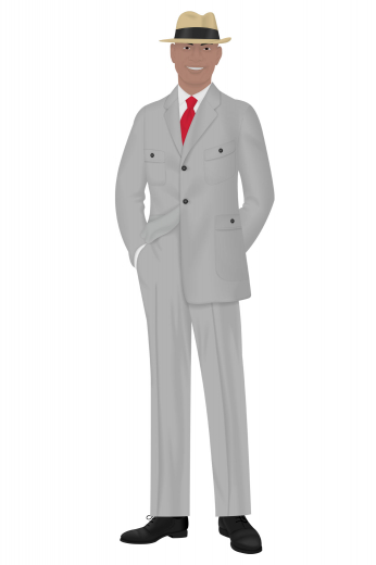 A hand tailored flattering pair of sophisticated men's formal suit pants with a great slim fit, a standard two-point button and hook closure waistband that sits comfortably and a gorgeous flat front pleat style that you will love. These great pants are paired with a classic men's two-button single breasted slim cut suit jacket featuring notch lapels and standard pockets with flaps.