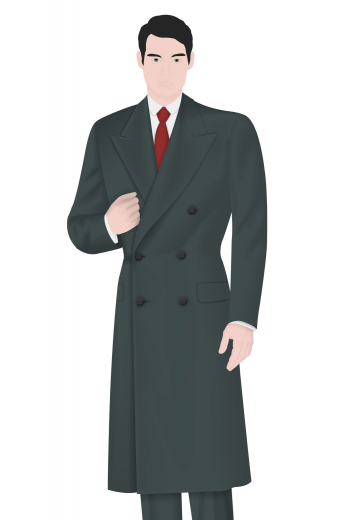 Sitting at calf length is this sophisticated men's vintage double breasted winter coat with features such as a six button design with two to close, gorgeous peaked lapels, and welted pockets with flaps to secure just about anything you put in to them.