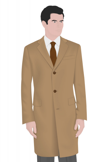 A single breasted men's hand tailored formal coat with a slim cut that is universally flattering. This vintage coat also features a stunning high orge with peak lapels and flapped lower pockets. The winter coat is paired with a stunning pair of contrasting slim cut pants.