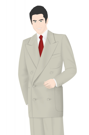 This mens custom made vintage style suit in cashmere wool is an elegant formal for work. It features a double breasted slim fit jacket and classic custom pants with a flat front. The mens bespoke vintage blazer has 6 front buttons with 3 to close, 2 peak lapels, 1 upper welt pocket, and 2 lower pockets with flaps. The mens handmade vintage pants have a 2 button and hook closure and a zipper fly. You can buy this mens vintage 30s suit from My Custom Tailor.